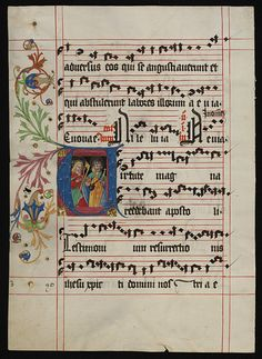 Leaf from an Antiphoner with a historiated initial U        Object:        Manuscript      Place of origin:        Mainz, Germany (illuminated)      Date:        ca. 1490 (illuminated)      Artist/Maker:        Unknown (production)      Materials and Techniques:        Water-based pigments, gilding and ink on parchment