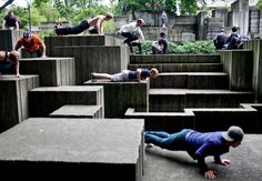 Annual Parkour Summit in Freeway Park in Seattle, Washington.