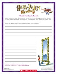 CREATIVE WRITING EXERCISE: Reflect on your dreams and desires for the future! Download by clicking the image above! For more activities visit www.scholastic.com/hpreadingclub #HarryPotter #HPread
