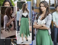 Spencer's green maxi skirt and tote bag on Pretty Little Liars.  Outfit details: http://wornontv.net/6471/