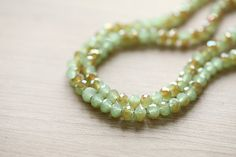 Electroplate Glass Beads - 30 pcs Jade Green Half Plated Faceted Glass Crystal Rondelle Beads Loose Beads - 8x5mm
