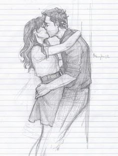 most romantic couple kissing drawing images 7