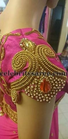 Rich Work Blouse Sleeves HMMmm great idea with some changes Wedding Saree Blouse Designs, Pattu Saree Blouse Designs, Fancy Blouse Designs, Blouse Neck Designs, Sleeve Designs, Blouse Patterns, Maggam Work Designs, Blouse Models, Work Blouse