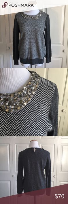 J.Crew Jeweled Collar Sweater Gray sweater with Jeweled Peter Pan collar. Worn once or twice, excellent condition. J. Crew Sweaters Crew & Scoop Necks
