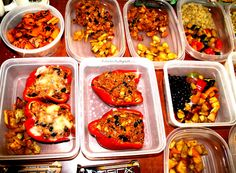 "With my vegan meal prep, I always do at least one full recipe: here it is portioned out Tofu Stuffed Bell Peppers (CLICK the pin to see the recipe), and then I""ll do a bunch of quinoa, sweet potatoes (for my carbs), and alll the veggies!! :) #veganmealprep #portioncontrol #fixate #21df"