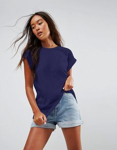 ASOS T-Shirt in Boyfriend Fit with Roll Sleeve