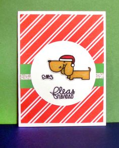 Fleas Navidad Christmas Card with paper Smooches Santa Paws stamp set