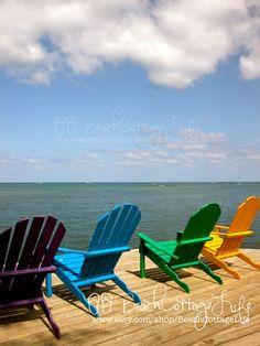 Crayola Adirondack Beach Chairs (Seaside & Blue Skies on the Island of Roatan - Cottage or Beach House Wall Art Photography)