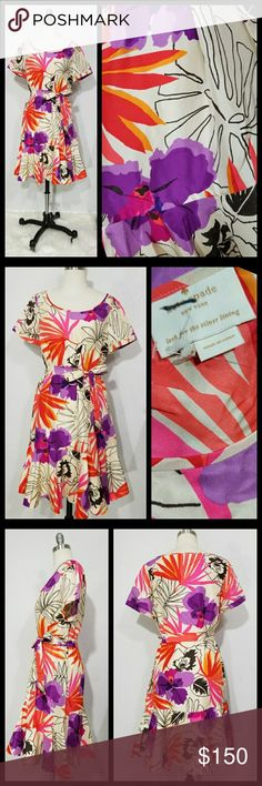 "Silk Kate Spade Dress NWOT. Made of 100% silk with a Hawaiian palm and floral print throughout. Scoop neck. Short sleeves. Relaxed fit with matching tie sash belt. Ruffled hem. Fits Medium-Large. MEASUREMENTS: (taken while laying flat so double for bust, waist and hips) Bust: 21"" Waist:up to 21"" Hips:23"" Length:38"" kate spade Dresses"