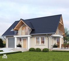 House with attic in traditional style with usable area House with a single garage. Minimum size of a plot needed for building a house is m. House Outside Design, My Home Design, House Design, Model House Plan, House Plans, Classic House Exterior, Colorado Homes, Home Fashion, Traditional House