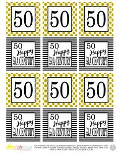 Printable 50th Birthday Half A Century Gold - Print at home and as many times as needed!