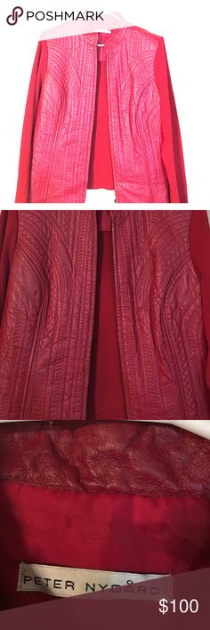 Red 100% vintage leather jacket Peter Nygard red leather jacket size L 10-16 can fit Peter Nygard Jackets & Coats Blazers