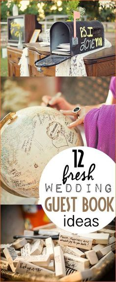 Unique Wedding Guest Book Ideas. Fresh and creative wedding guest book alternatives. Collect all your guests advice and thoughts in cool ways that you can display later. Fun travel themed wedding guestbook.
