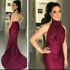 2016 Burgundy Mermaid Prom Dresses High Neck Backless Celebrity Evening Party Gowns for Women Cheap Custom Made Mother of Bride Formal Wear Online with $115.33/Piece on Marrysa's Store | DHgate.com