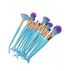 10Pcs Ombre Hair Mermaid Handle Makeup Brushes Set Blue ($8.77) ❤ liked on Polyvore featuring beauty products