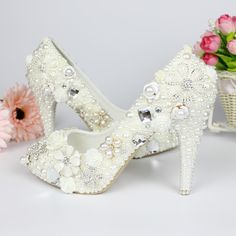 2ffa2e1360bf handmade flower ivory pearl wedding shoes pointed toe thin heel bridal shoes  crystal wedding shoes free