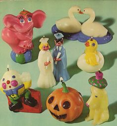 kitsch candles, think these vintage candles are for topping occasion cakes. Kitsch, Retro, Clay Crafts, Vintage Toys, Art Inspo, Art Reference, Whimsical, Goodies, Childhood