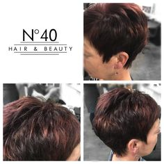 Julie Ann added multi-tonal reds to this classic pixie cut which really brings out the choppy texture https://www.no40hairandbeauty.co.uk/