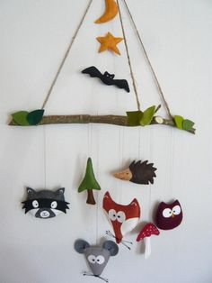 "Baby Mobile ""Nachts im Wald "" aus Filz / cute baby mobile ""wood by night"" made of felt by assili-1966 via DaWanda.com"