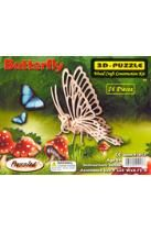 Butterfly 3-D Puzzle: Wood Craft Construction Kit