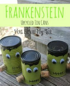DIY Upcycled Frankenstein Tin Cans!  Great fun Halloween Decoration!  Kid Friendly Craft!
