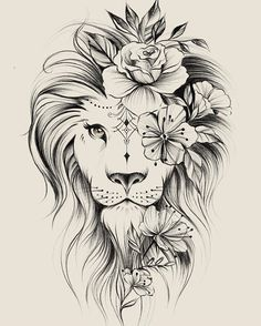 Image could contain: drawing – flower tattoos – best tattoo – flower tattoos designs - tatoo feminina Leo Tattoos, Bild Tattoos, Future Tattoos, Body Art Tattoos, Tatoos, Portrait Tattoos, Leo Zodiac Tattoos, Horse Tattoos, Small Tattoos
