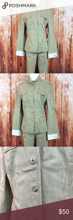 """Elie Tahari 2 Piece Khaki Denim Jacket Outfit In great condition! Comes from a smoke free home. Worn a few times. Matching denim jacket and jeans. Color is a khaki color.  Jacket is a size large Across the shoulders is 16 1/4"""", across the chest is 19"""", and the length down the middle back is 24 1/2""""  Pants are a size 10 Across the waist is 15 1/2, rise is 9 1/2"""", inseam is 30 1/2"""", and the leg opening is 10"""" across Elie Tahari Other"""