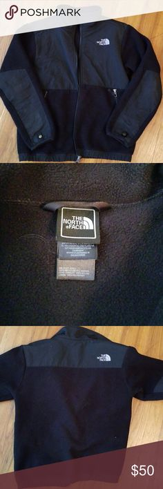 North Face Denali Youth Coat Black North Face Denali coat. Worn dor 2 years but in excellent used condition with no tears, rips, snags, or holes. Size medium. My son's name is written on the inside label but could probably be removed with a magic eraser. Super warm jacket perfect even for winter (at least here in the south....lol). Smoke free home. Reasonable offers will be considered but please don't low ball offer North Face Jackets & Coats