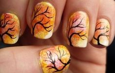 As symbols of the winter season, snowflake nail art are wonderful now and can instantly make a regular manicure look like a work of art. Take a look at these Cool Snowflake Nail Art Designs for inspiration. Cute Nail Art Designs, Fall Nail Designs, Fingernail Designs, Tree Nail Art, Tree Nails, Nail Shapes Squoval, Nails Shape, Cute Halloween Nails, Fall Halloween