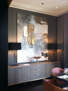Artwork, credenza, lighting & paint- interior architecture and interior design: residential and hotel design