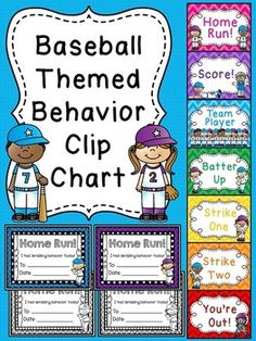 Behavior chart in a fun baseball theme for your classroom! Perfect for a sports themed classroom or just a fun theme to spruce up your behavior clip chart! Kindergarten Classroom Management, Classroom Management Strategies, Classroom Organization, Subtraction Kindergarten, Behaviour Management, Class Management, Organizing, Sports Theme Classroom, Classroom Posters