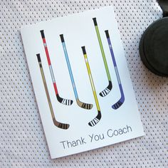 Hockey Greeting Card - Thank You Coach Card - Hockey Sticks - Thank your hockey coach for all of the help both on and off the ice with this great hockey greeting card.