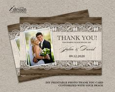 Rustic Thank You Card With Burlap And Lace by iDesignStationery