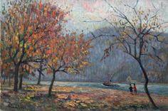 La Seine, vapeur et promeneurs à l'automne par Albert Malet Painting, Fall Season, Artist, Painting Art, Paintings, Painted Canvas, Drawings