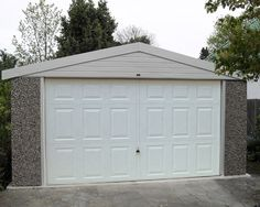 Double Apex concrete garage with georgian style door Concrete Garages, Prefab, Georgian, Gazebo, Garage Doors, Outdoor Structures, Outdoor Decor, Home Decor, Style