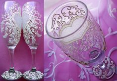 Gallery.ru / Свадебные бокалы - СВАДЕБНЫЕ БОКАЛЫ - YS-art Bride And Groom Glasses, Wedding Wine Glasses, Walking On Glass, Diy Glasses, Painted Wine Glasses, Bottle Painting, Diy Wedding Decorations, Bridal Accessories, Glass Art