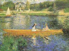 Pierre Auguste Renoir Banks of the Seine at Asnieres painting is shipped worldwide,including stretched canvas and framed art.This Pierre Auguste Renoir Banks of the Seine at Asnieres painting is available at custom size. Pierre Auguste Renoir, Edouard Manet, Claude Monet, August Renoir, Renoir Paintings, Oil Paintings, Landscape Paintings, Impressionist Artists, Art History