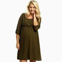 MATERNITY Olive Chiffon Dress Brand new with tags and packaging. Super cute maternity dress just was a little small on my arms. It's a medium, I'd say it would fit a small/medium better! It's from Pink Blush boutique. Pink Blush  Dresses
