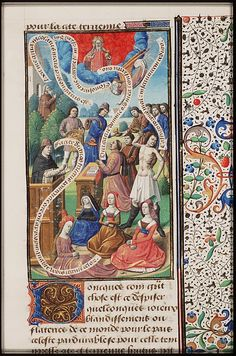 Christians listen to prayers, plus some flagellation and good works, from Augustine, La Cité de Dieu, Book IX, illustrated by Maitre Francois, c. 1475-1480 -- At last! Some belts that aren't white. Buckled in the back, of course. Note the mitten cuffs on the women in red in the front.