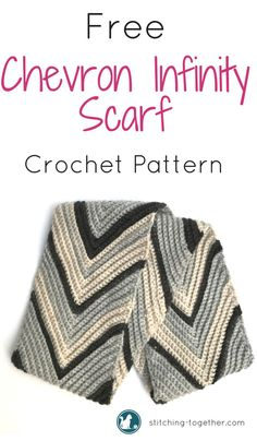 Free crochet pattern for a chevron crochet infinity scarf. Stay warm this fall and winter with this easy to make chunky multicolored scarf. Wear it with a variety of outfits. Crochet Scarves, Crochet Shawl, Crochet Clothes, Crochet Stitches, Knit Crochet, Knit Cowl, Hand Crochet, Crochet Vests, Crochet Cape