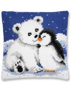 Christmas polar bear and penguin cross stitch.
