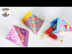 Origami Candy, Origami Bag, Origami Paper Art, Paper Folding Techniques, Origami Box Tutorial, Paper Decorations, Packaging Design, Cross Stitch, Wraps