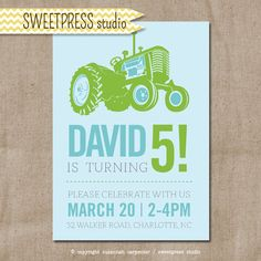 We love this custom printable Tractor Birthday Invitation by sweetpressStudio. Design and customization for only $10.00!
