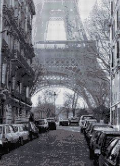 Eiffel Tower Paris France Cross Stitch pattern PDF - EASY chart with one color…