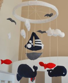 Baby Crib Mobile - Nursery Decor - Nautical - Navy / Grey / Red / White - inspired by Make a Splash / Land of Nod $76