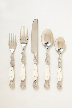 Resplendent Flatware #anthropologie The yellow-green is really interesting and different