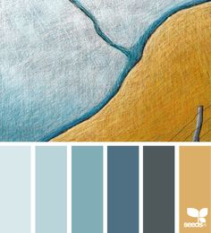 Turquoise color schemes, mustard color scheme, color collage, color b Orange Color Palettes, Blue Colour Palette, Blue Color Schemes, Bedroom Color Schemes, Bedroom Colors, Color Combinations, Gold Palette, Design Seeds Blue, Mustard Color Scheme