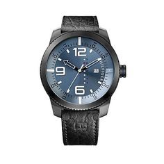 Tommy Hilfiger men's watch. Simple, elegant, timeless. Our handsome sport watch with a week of the day feature to keep you stylishly of-the-moment. <br/>• Stainless steel with leather strap.<br/>• 50mm case, three-hand movement, microflag. <br/>• Water resistant up to 50 meters.<br/>• 10-year limited warranty.<br/>• Imported.<br/><br/>