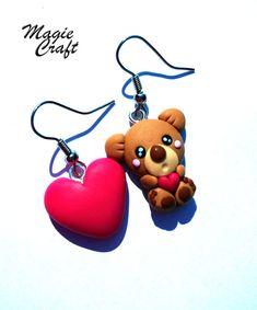 Orecchini Orsetto orso con cuore in Fimo di MagieCraft su Etsy, €7.00