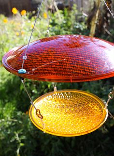 Bird feeder blue and yellow Eco Friendly by RedYellowAndBlueInk